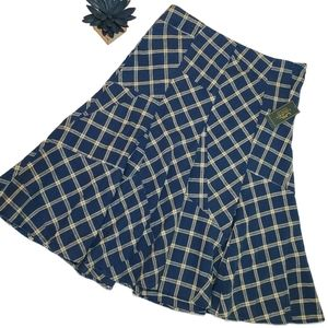 NWT LRL | Blue Cream Plaid Farm Style Skirt Ruffle